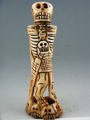 Old Antique Collectible Hand-Carved Human skeleton Netsuke Statue