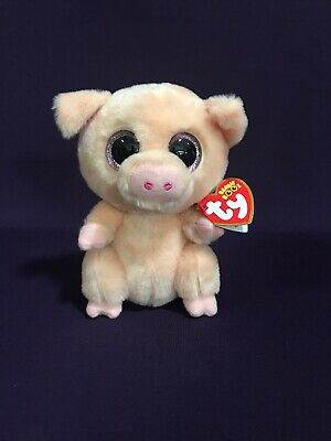 32668679b16 Ty Beanie Boo Boos Piggley the Cream + Peach Pig Plush 6