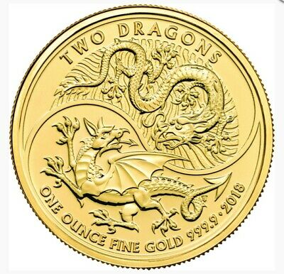 2018 Great Britain 1 oz Gold Two Dragons MS70 First Strike *Dragon Label Pop 2*