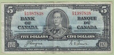 1937 Bank of Canada Five Dollar Note - Coyne/Towers - C/S1987838 - VF