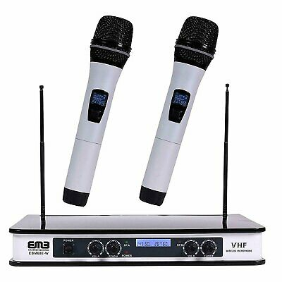 EMB Dual HandHeld Microphone System/Digital Display for Church, Karaoke w/ Echo