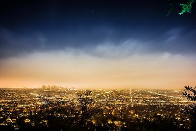Los Angeles Skyline from Griffith Observatory California Canvas Print Metal Art