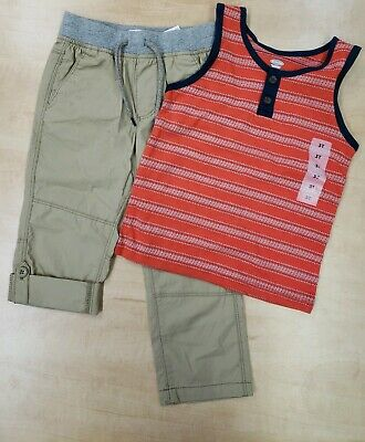 ce220ccb7 BOYS OLD NAVY Roll Up tan Pants And Red Tank Top SZ 3T NWT - $11.00 ...