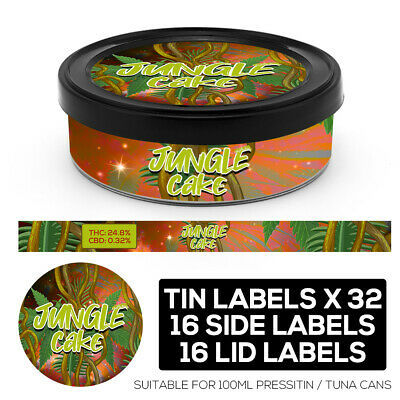 JUNGLE CAKE Cali pressitin tuna Tin Labels Stickers RX Medical HIGH QUALITY