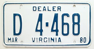 Virginia 1980 Dealer License Plate, D4-468, High Quality