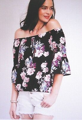 de6b58c93510f MAURICES~NEW WITH TAGS~ Black floral off the shoulder top ~Size XL ...