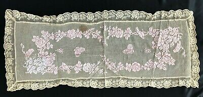"""ANTIQUE~VICTORIAN FILET WORK W/ RIBBON EMBROIDERY-TABLE SCARF/RUNNER - 22"""" x 52"""""""