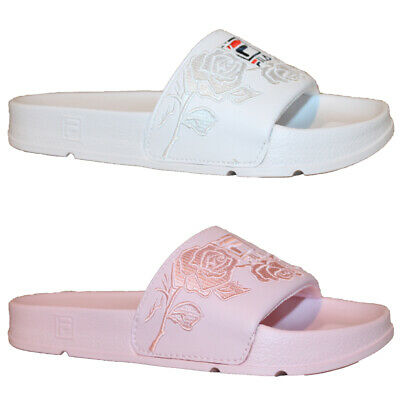 eae8d33101b5 Womens Fila Drifter Embroidery Comfort Sport Slides Casual Sandals White  Pink