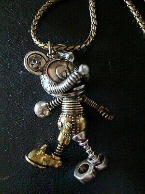 55f6addc14421 DISNEY COUTURE - Mickey Mouse -Steampunk Necklace Yellow Gold Silver Plated  NWT