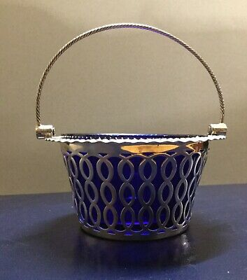 Solid Silver Basket With Blue Liner. Sheffield 1905. 59 Grams.