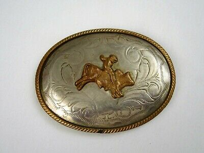 COWBOY Belt Buckle Bull Rider German Silver Western Wear Rodeo Beltbuckle Vtg
