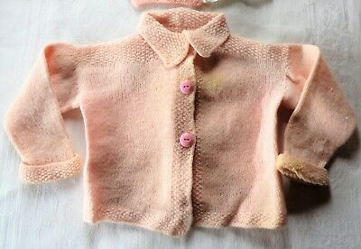 Vintage Hand Knit Baby Sweater Cardigan Pink Collar