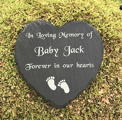 Personalised Engraved Slate Stone Heart Memorial Grave Marker Plaque Baby Child
