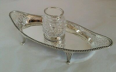 Sterling silver/cut glass ink well stand . Birmingham 1901.By Mappin & Webb Ltd