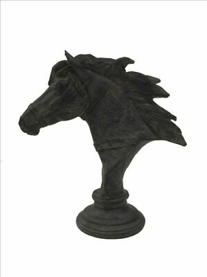 Horse Bust On Base Ornament Sculpture Feature Display Decor CHARCOAL 45X47X23CM