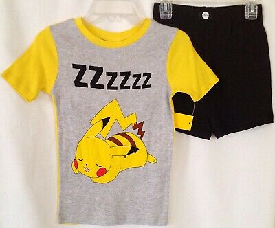 b98f59bef9 New POKEMON 2 Pc Pajamas Set Boys 10 PIKACHU PJs Top Shirt Tee Shorts  Bottoms