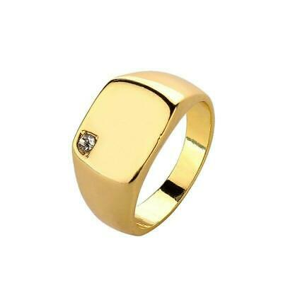 Mens Gold Tone Stainless Steel Signet Ring with Clear CZ Stone