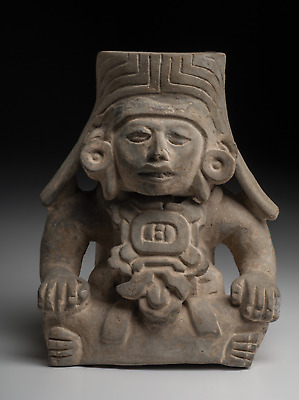 Ancient Mexican Art Monte Alban Figural Deity Urn Mexico Ca. 500 A.D.