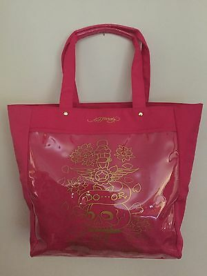 8fae7372f5bd Ed Hardy Tote~Beach Bag~Pink~Canvas W plastic Slide Pocket Front
