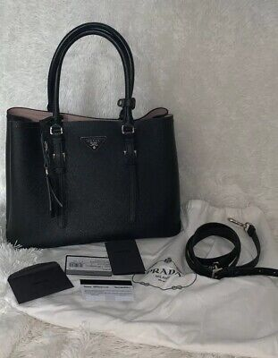 a7d30f3292e0 PRADA  CUIR  DOUBLE  TOTE  SAFFIANO  BLACK  LEATHER  SHOULDER  BAG ...