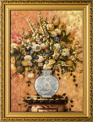 Lucky Money Tree - Floral Painting with Silver Vase and Coins