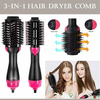 3 in1 Hair Dryer Volumizer Curler Salon Wave Brush Curling Straightening Comb AU