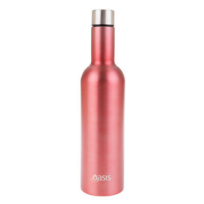 New Oasis 750ml Stainless Steel Double Wall Insulated Wine Traveller Rose'