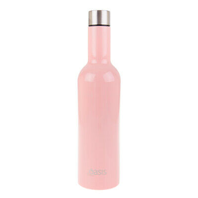 New Oasis 750ml Stainless Steel Double Wall Insulated Wine Traveller Soft Pink
