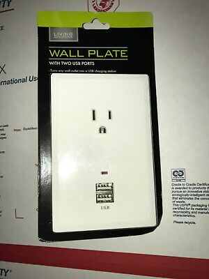 Living Solutions Wall Plate with 2 USB Ports WIC 904362 NEW