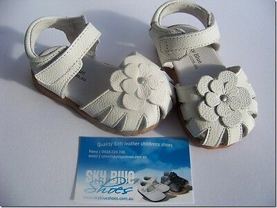 Girls All White Leather Sandals for Toddler Kids Children for age 1 - 6 years