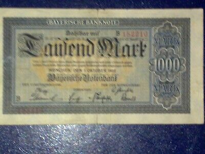 Germany - Bayerish- 1 000 Mark  Banknote 1923 - Munich-Very Fine