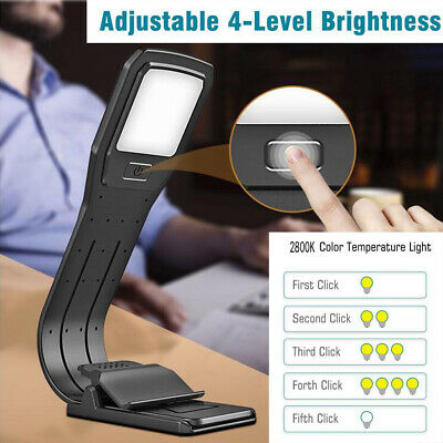 USB Rechargeable LED Reading Light Stand Clip On Book Lamp for Kindle E-Reader