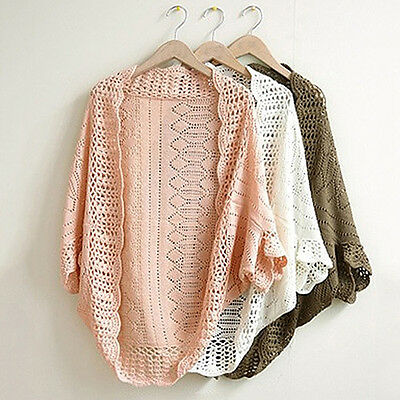 FT- Women Crochet Kimono Hollow Knit Tops Knitwear Coat Outwear Cardigan Fashion