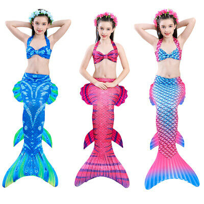 Girl's Mermaid Tails Bandage Top Two-piece Bikini Swimming Swimsuit Bathing Suit