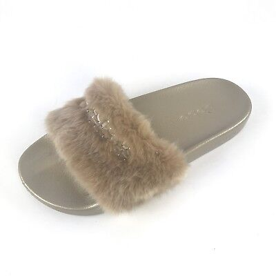 1d259117fdab Bebe Slippers Size 9 Womens Furiosa Gold Faux Fur Rhinestone Slides Sandals