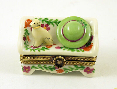 New French Limoges Trinket Box Cute Dog On Colorful Floral Sofa Bench W Hat