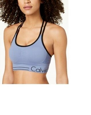 cfb236fe46 Calvin Klein Performance Strappy-Back Low-Impact Sports Bra - Blue XS NWT