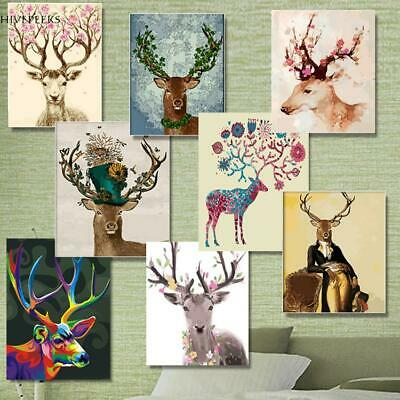 Modern Abstract Canvas Oil Painting Print Home Room Wall Art Decor Deer /Flaming