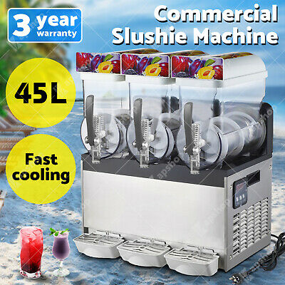 45L COMMERCIAL Slushy Machine Granita Slush Maker Slurpee Slushy Juice 3 Tank AU