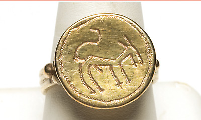 Byzantine Gold Ring with Donkey Medieval Jewelry ca. 1200-1400 A.D