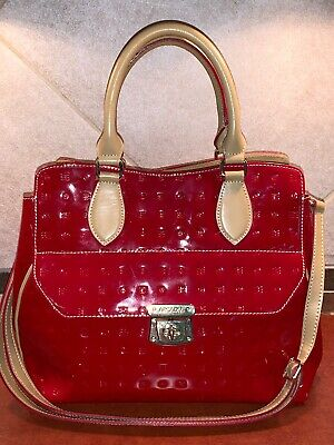 f597ab075 Arcadia Red & Tan patent leather Satchel Crossbody handbag Purse Made In  Italy