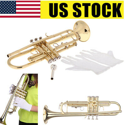 Professional Great Trumpet Bb B Flat Brass Exquisite with Mouthpiece Gloves Y7M8