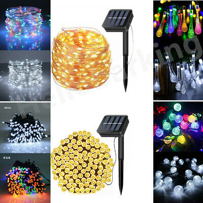 LED Solar Powered Fairy String Lights Garden Outdoor Party Wedding Decor XMAS UK