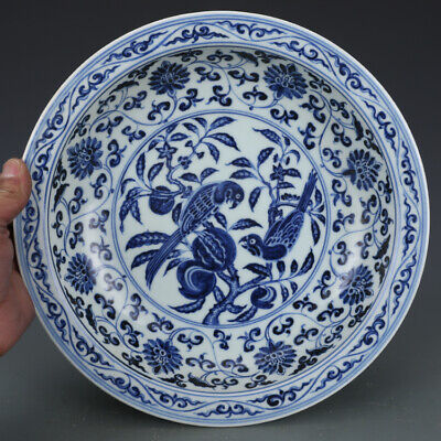 One Rare Chinese Ming Dynasty Blue&White Porcelain Flowers Bird Plate