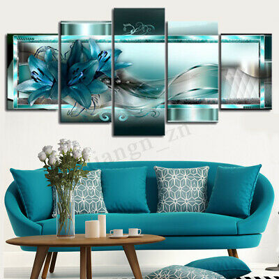 5Pcs Abstract Flower Canvas Print Art Painting Home Decor Wall Picture Framed