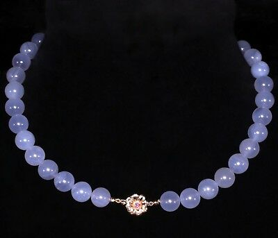High Quality Chalcedony Necklace, Vintage 14kt Flower Clasp With Genuine Ruby