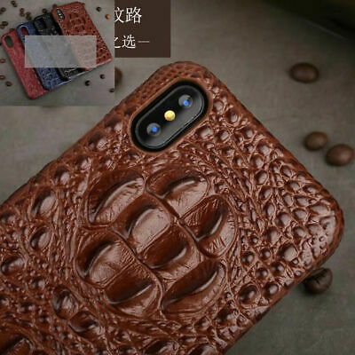 Real Leather Crocodile Pattern Case Hard Back Cover For iphone Xs Max Xr X 6 7 8