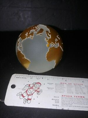 Signed Numbered Correia Art Glass Paperweight Gold and Frosted World Globe Earth