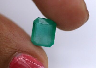 1.92 Ct Natural Emerald Zambia Loose Unheated Untreated Octagon Cut Gemstone