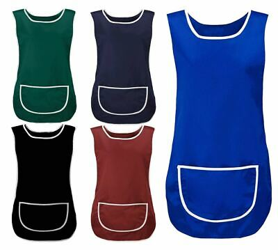 Womens Sleeveless Apron with Front Pocket Tabard Ladies Work Wear Plain Vest Top